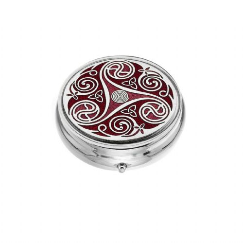 Large Pill Box Silver Plated Celtic Triskele Design Red Brand New & Boxed